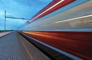 Train in railway at speed