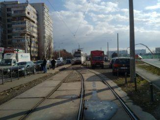 tramvaiele din Pantelimon șine la Cora Pantelimon