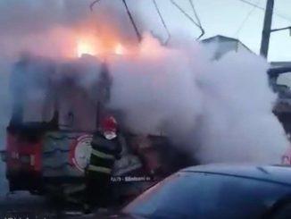tramvai a luat foc la Arad