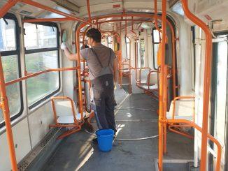 dezinfectare în tramvaie curățenie la STB