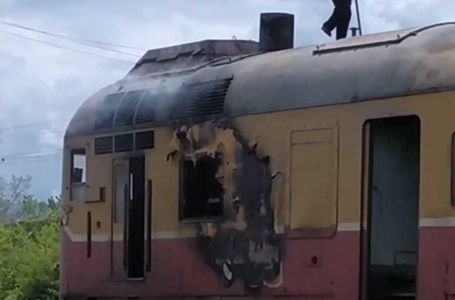 locomotivă a luat foc
